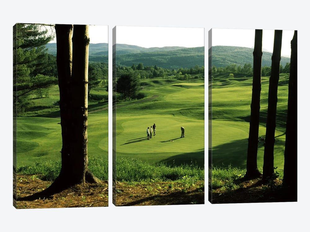 Golfers On A Green, Country Club Of Vermont, Waterbury, Washington County, Vermont, USA 3-piece Art Print