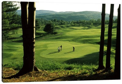 Golfers On A Green, Country Club Of Vermont, Waterbury, Washington County, Vermont, USA Canvas Art Print