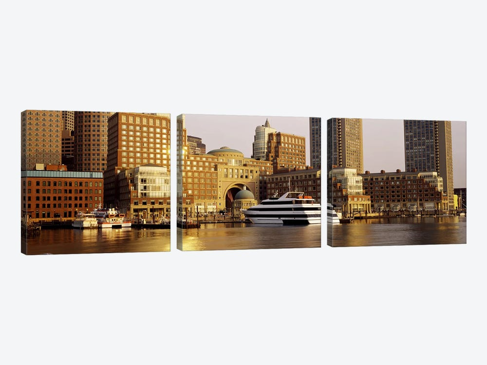 Buildings at the waterfront, Boston, Suffolk County, Massachusetts, USA by Panoramic Images 3-piece Art Print