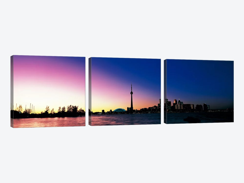 Skyline CN Tower Skydome Toronto Ontario Canada by Panoramic Images 3-piece Canvas Art Print