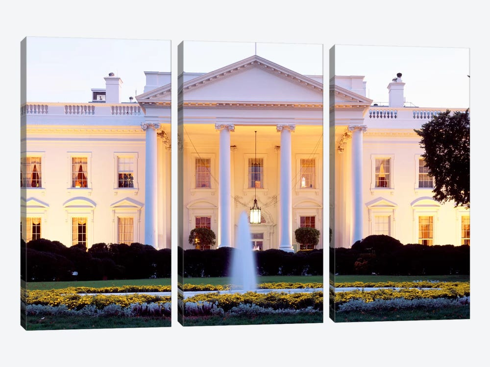 Northern Façade Portico, White House, Washington D.C., USA by Panoramic Images 3-piece Canvas Art