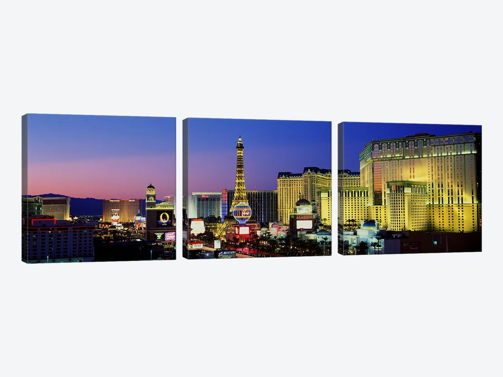 The Strip at Dusk, Las Vegas, Nevada, USA by Panoramic Images 3-piece Canvas Art