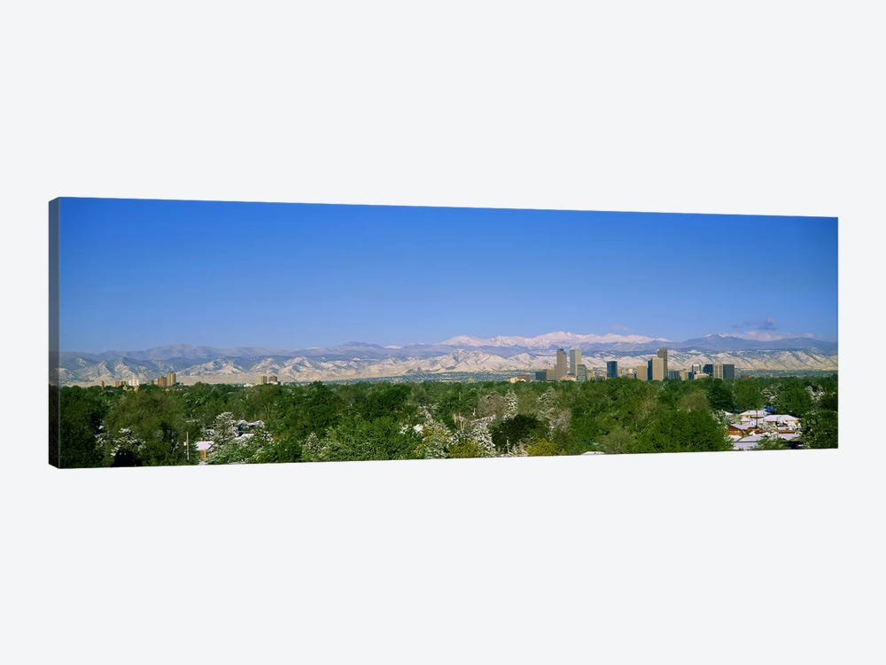 Buildings in a city with a mountain range in the background, Denver, Colorado, USA by Panoramic Images 1-piece Art Print