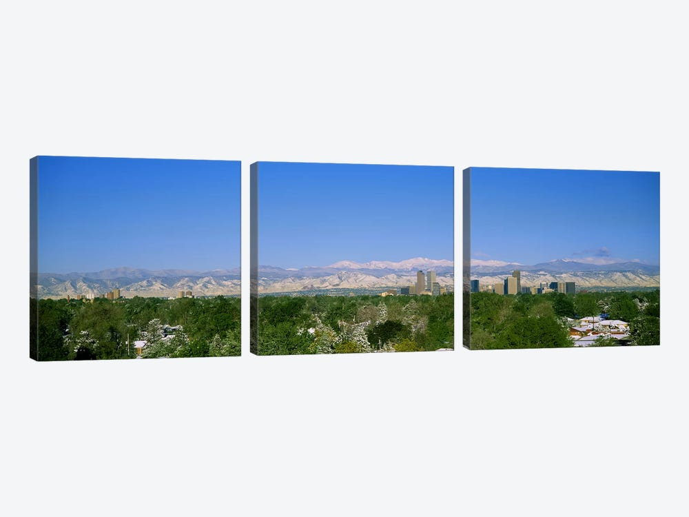 Buildings in a city with a mountain range in the background, Denver, Colorado, USA by Panoramic Images 3-piece Canvas Art Print