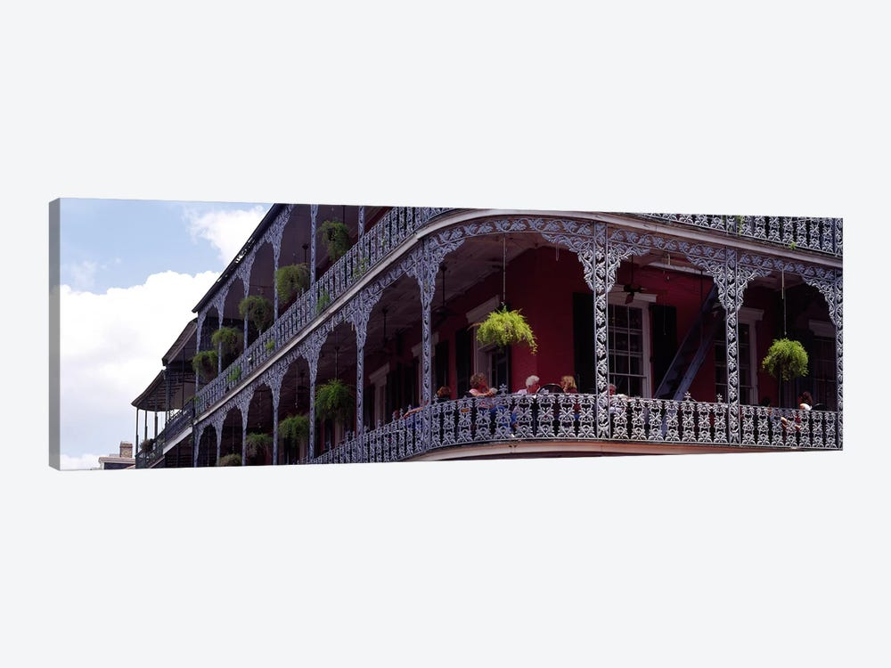 People sitting in a balcony, French Quarter, New Orleans, Louisiana, USA by Panoramic Images 1-piece Canvas Art