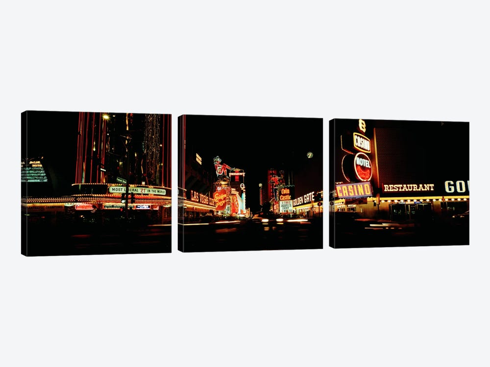Las Vegas NV Downtown Neon, Fremont St by Panoramic Images 3-piece Canvas Artwork