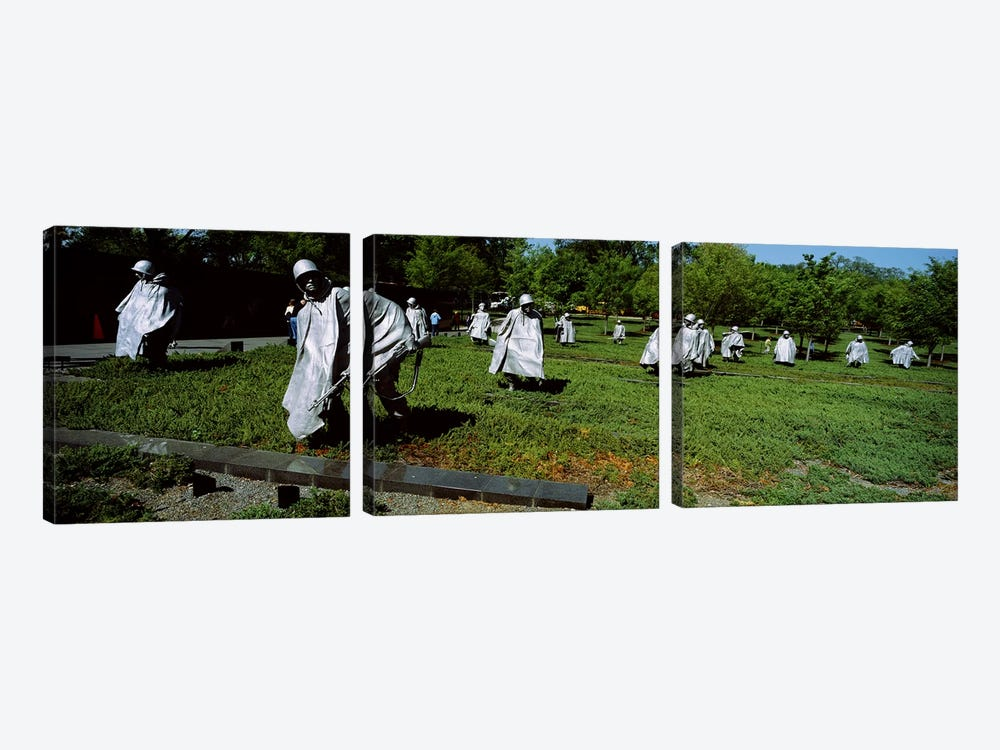 USA, Washington DC, Korean War Memorial, Statues in the field by Panoramic Images 3-piece Canvas Wall Art