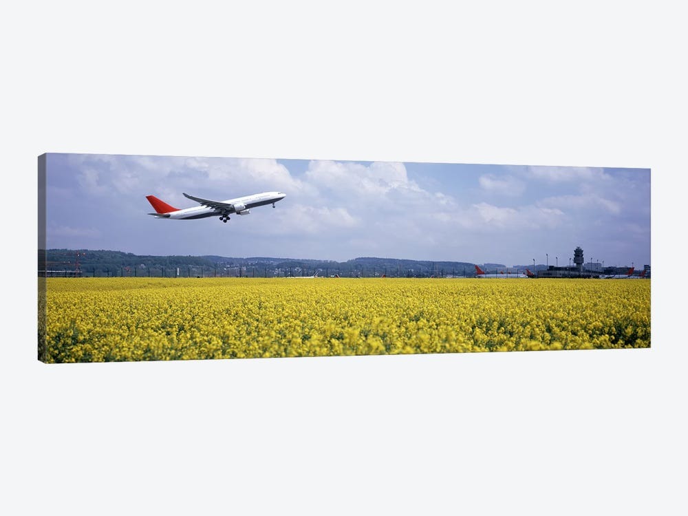 A Departing Airplane, Zurich (Kloten) Airport, Zurich, Switzerland by Panoramic Images 1-piece Canvas Print