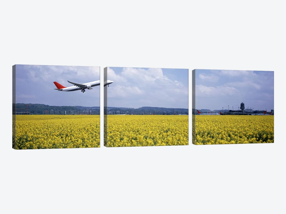 A Departing Airplane, Zurich (Kloten) Airport, Zurich, Switzerland by Panoramic Images 3-piece Canvas Print