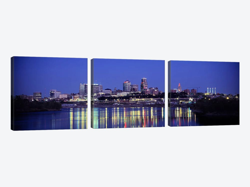 Evening Kansas City MO by Panoramic Images 3-piece Canvas Wall Art