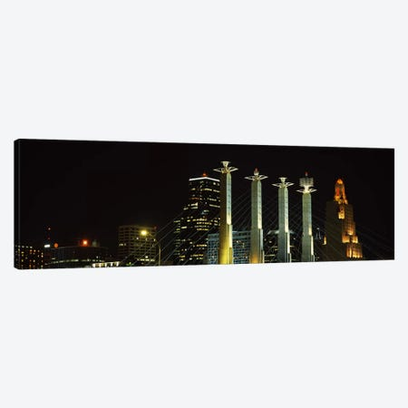 Buildings lit up at night in a cityBartle Hall, Kansas City, Jackson County, Missouri, USA Canvas Print #PIM3022} by Panoramic Images Canvas Wall Art