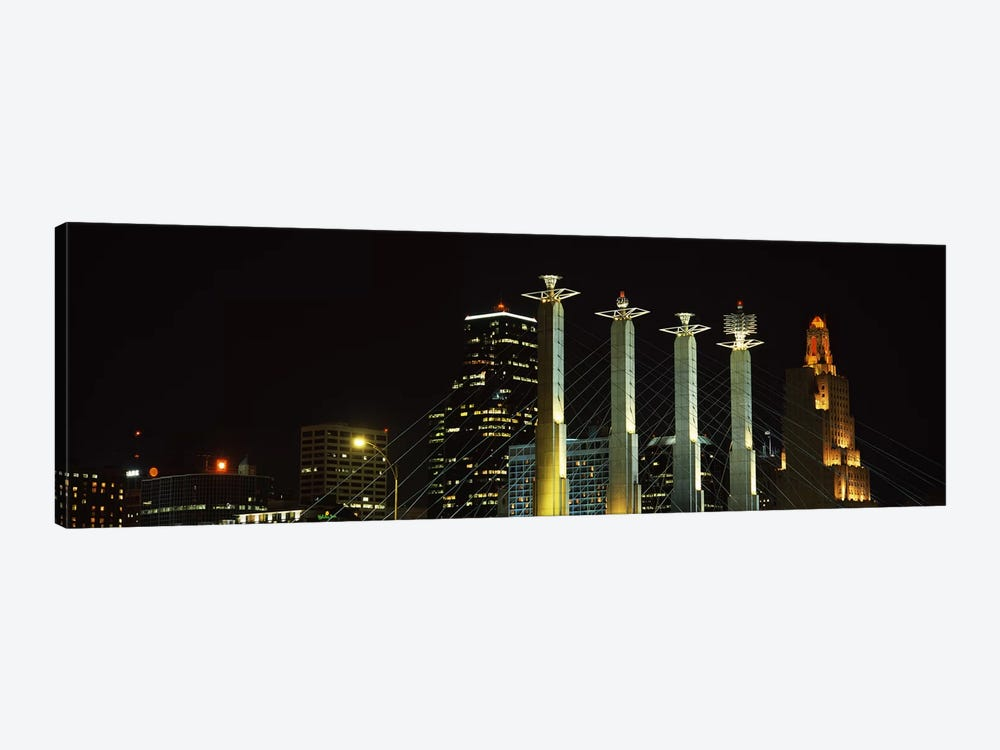 Buildings lit up at night in a cityBartle Hall, Kansas City, Jackson County, Missouri, USA by Panoramic Images 1-piece Canvas Wall Art