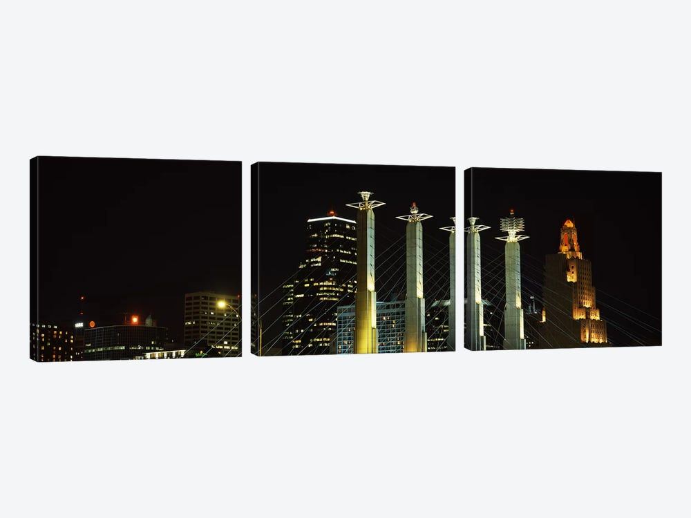 Buildings lit up at night in a cityBartle Hall, Kansas City, Jackson County, Missouri, USA by Panoramic Images 3-piece Canvas Artwork