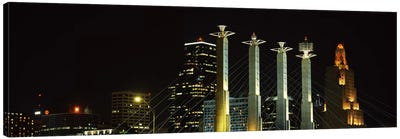 Buildings lit up at night in a cityBartle Hall, Kansas City, Jackson County, Missouri, USA Canvas Art Print