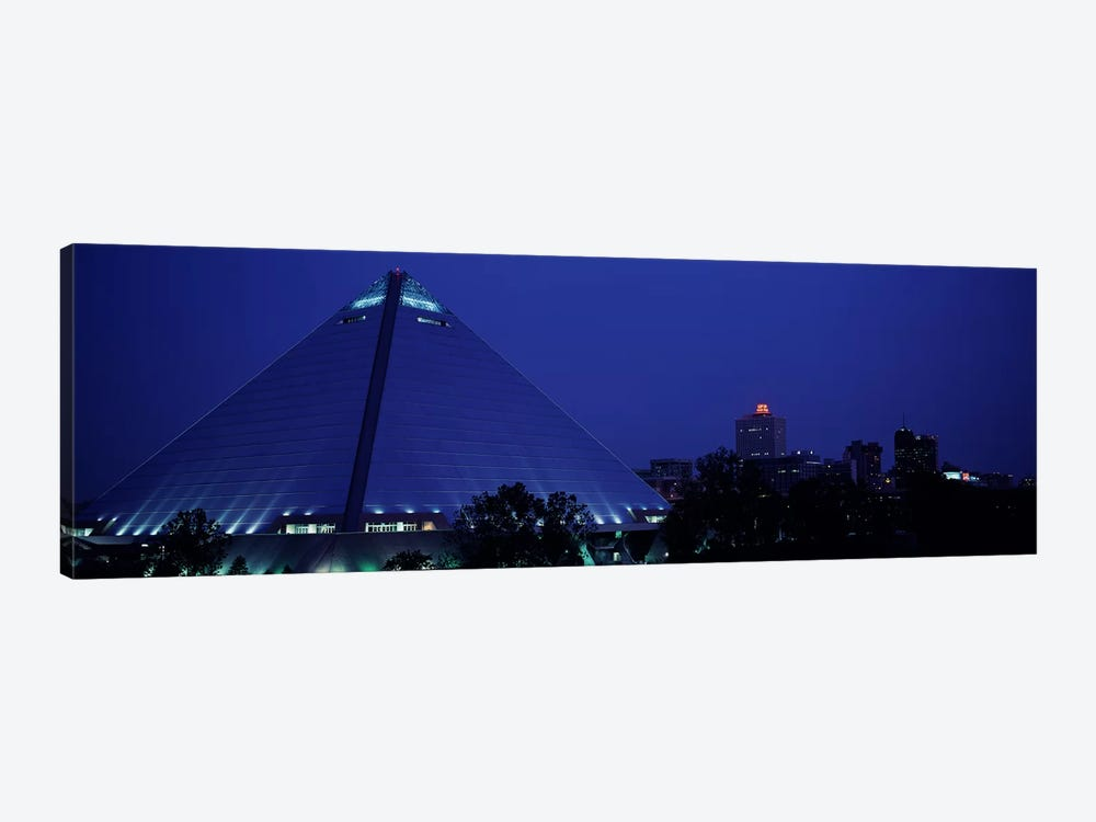 Night The Pyramid & Skyline Memphis TN USA by Panoramic Images 1-piece Canvas Print