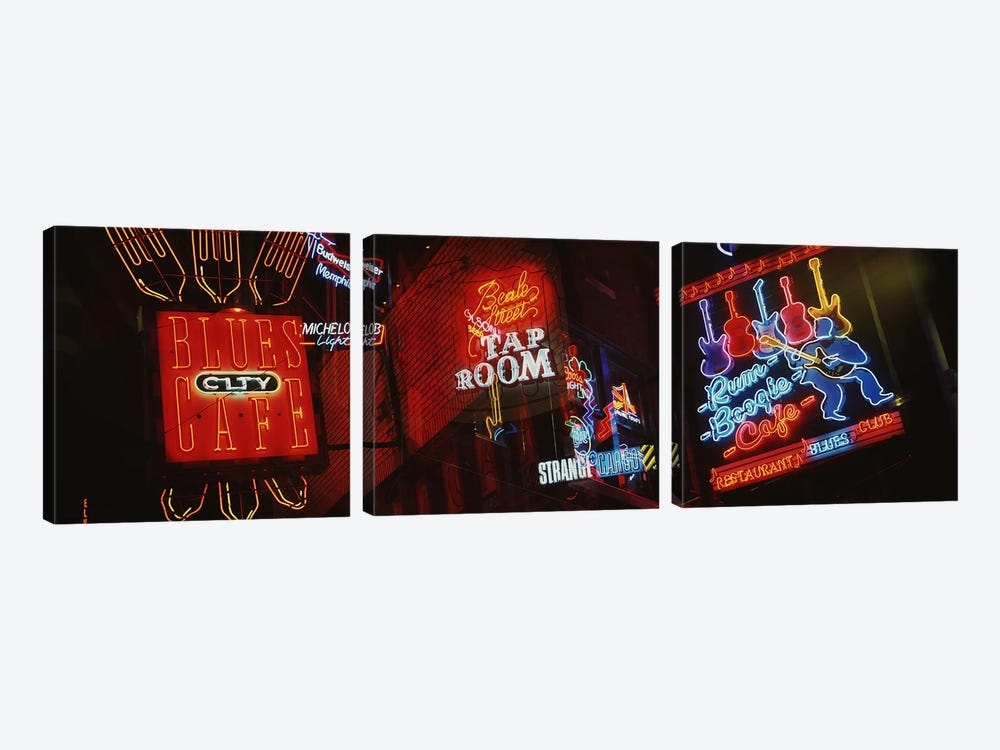 Neon SignsBeale Street, Memphis, Tennessee, USA by Panoramic Images 3-piece Canvas Wall Art