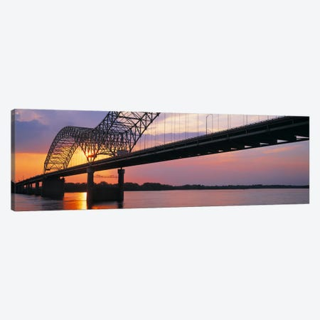 SunsetHernandez Desoto Bridge & Mississippi River, Memphis, Tennessee, USA Canvas Print #PIM3031} by Panoramic Images Canvas Art Print