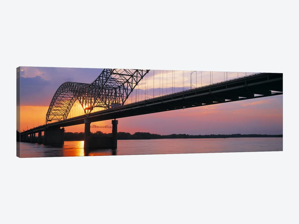 SunsetHernandez Desoto Bridge & Mississippi River, Memphis, Tennessee, USA by Panoramic Images 1-piece Canvas Artwork