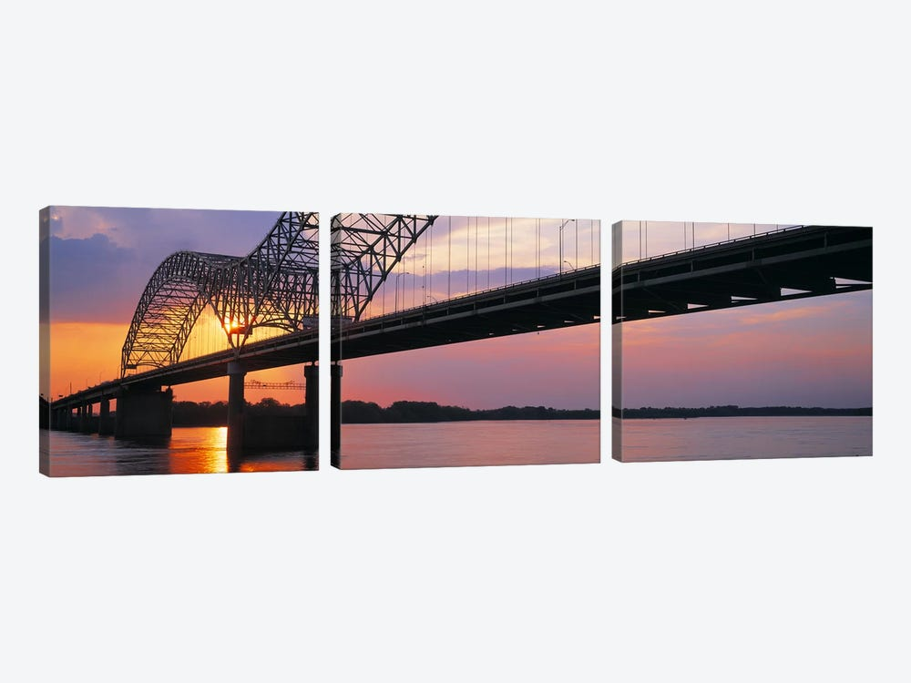 SunsetHernandez Desoto Bridge & Mississippi River, Memphis, Tennessee, USA by Panoramic Images 3-piece Canvas Wall Art