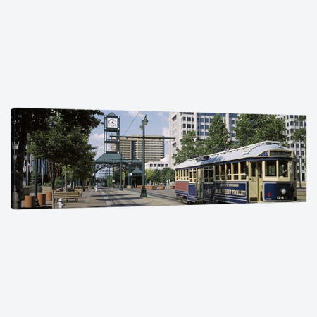 View of A Tram Trolley on A City StreetCourt Square, Memphis, Tennessee, USA Canvas Print #PIM3034} by Panoramic Images Canvas Wall Art