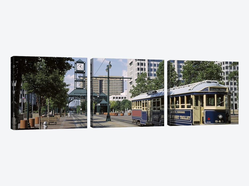 View of A Tram Trolley on A City StreetCourt Square, Memphis, Tennessee, USA by Panoramic Images 3-piece Art Print