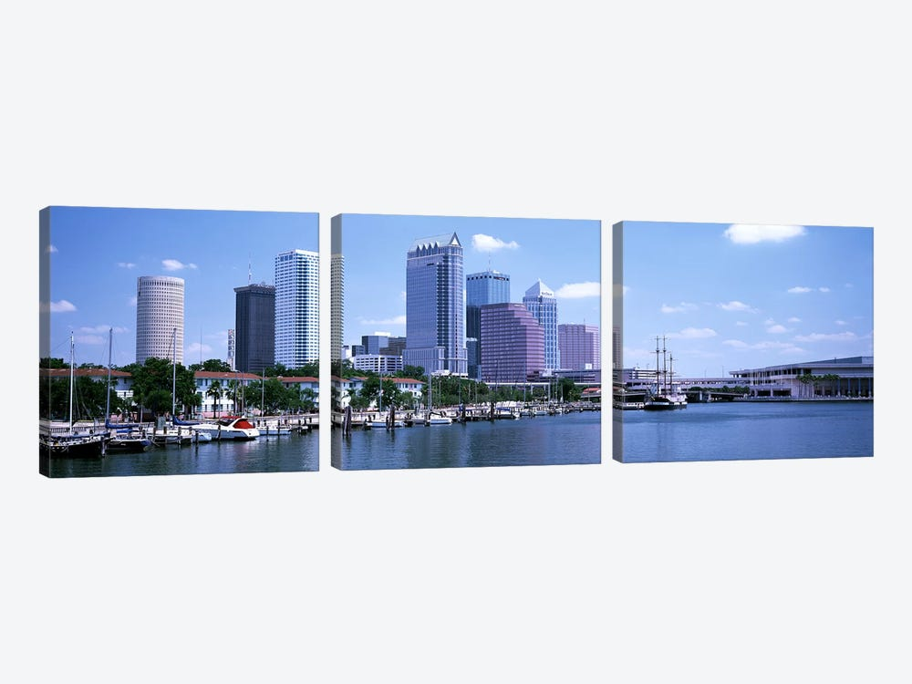 Skyline & Garrison Channel Marina Tampa FL USA by Panoramic Images 3-piece Canvas Art