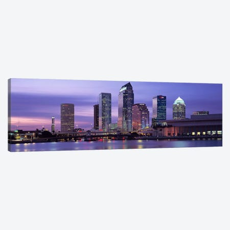 USAFlorida, Tampa, View of an urban skyline at night Canvas Print #PIM3037} by Panoramic Images Canvas Artwork
