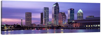USAFlorida, Tampa, View of an urban skyline at night Canvas Art Print