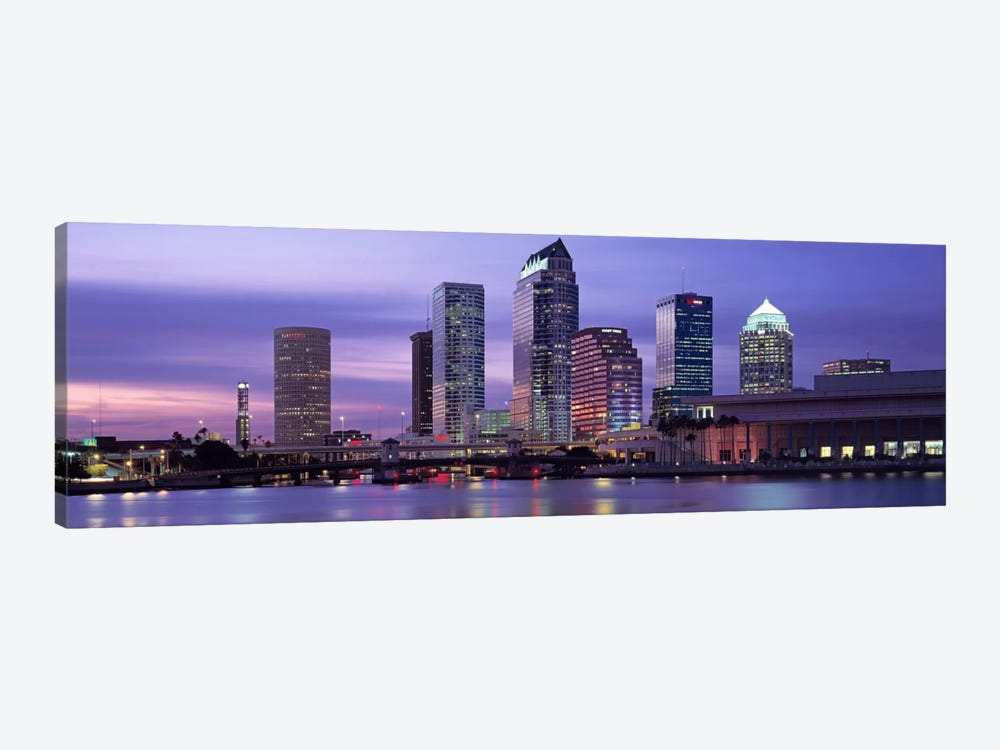 USAFlorida, Tampa, View of an urban skyline at night by Panoramic Images 1-piece Canvas Art