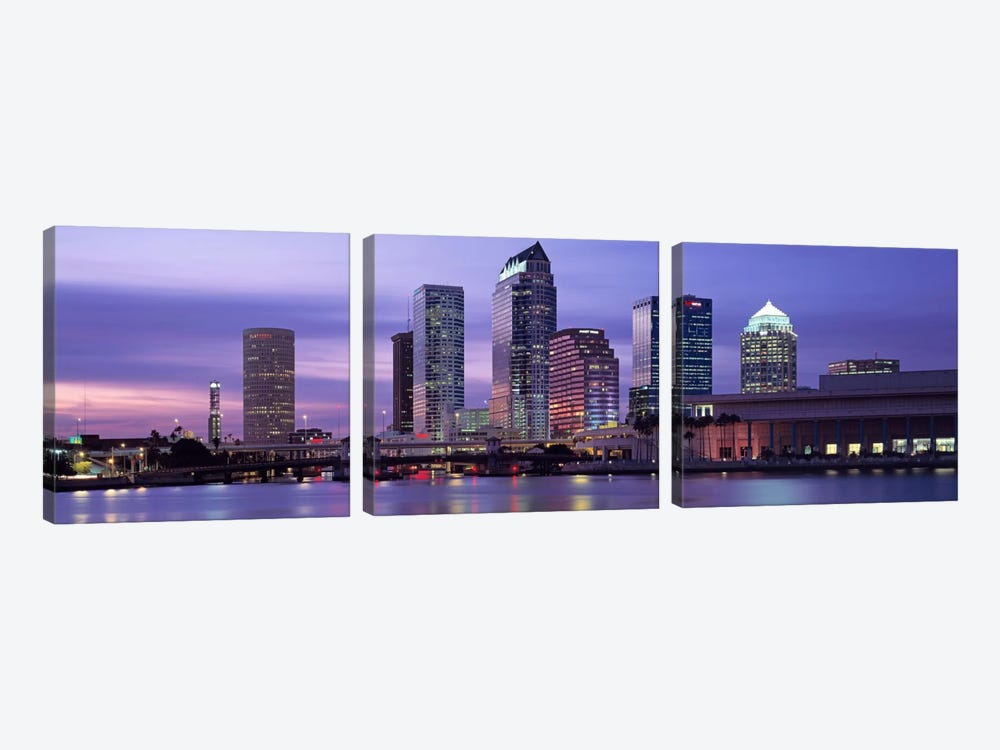 USAFlorida, Tampa, View of an urban skyline at night by Panoramic Images 3-piece Canvas Wall Art