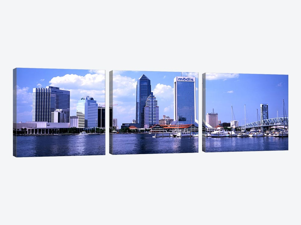 Skyscrapers at the waterfront, Main Street Bridge, St. John's River, Jacksonville, Florida, USA by Panoramic Images 3-piece Canvas Artwork