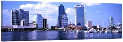 Skyscrapers at the waterfront, Main Street Bridge, St. John's River, Jacksonville, Florida, USA Canvas Art Print
