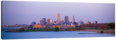 Buildings at the waterfront, Cleveland, Ohio, USA #2 Canvas Art Print