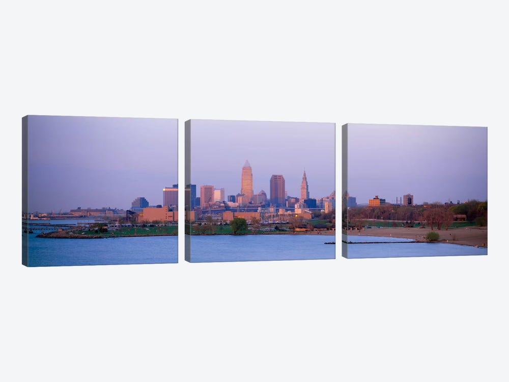 Buildings at the waterfront, Cleveland, Ohio, USA #2 by Panoramic Images 3-piece Canvas Print