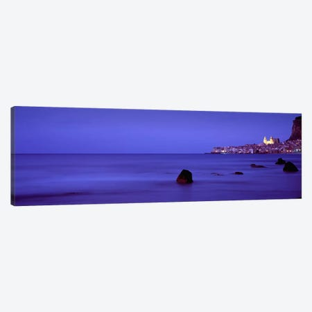 Distant View Of Cefalu At Dusk, Palermo, Sicily, Italy Canvas Print #PIM3042} by Panoramic Images Canvas Artwork