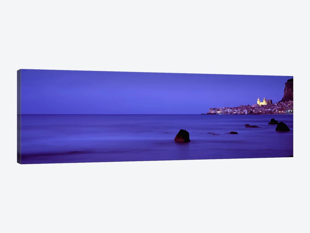 Distant View Of Cefalu At Dusk, Palermo, Sicily, Italy by Panoramic Images 1-piece Canvas Art