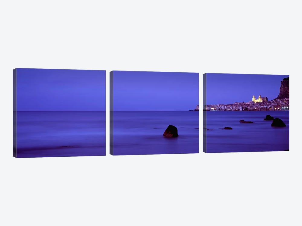Distant View Of Cefalu At Dusk, Palermo, Sicily, Italy by Panoramic Images 3-piece Canvas Wall Art