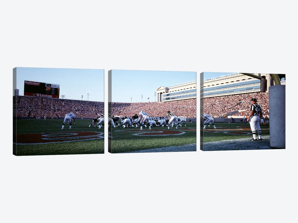 Football Game, Soldier Field, Chicago, Illinois, USA by Panoramic Images 3-piece Canvas Print