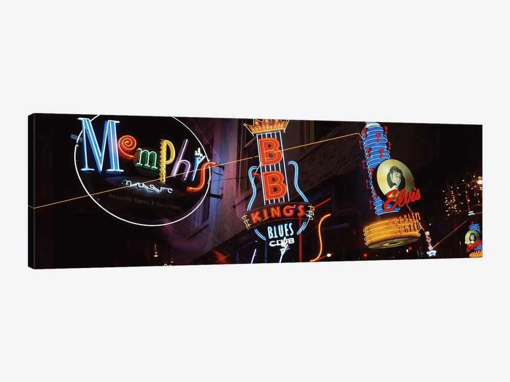Low angle view of neon signs lit up at night, Beale Street, Memphis, Tennessee, USA by Panoramic Images 1-piece Canvas Print
