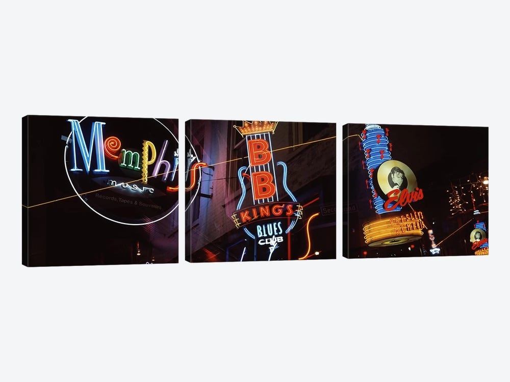 Low angle view of neon signs lit up at night, Beale Street, Memphis, Tennessee, USA by Panoramic Images 3-piece Canvas Art Print