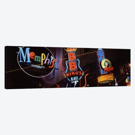 Low angle view of neon signs lit up at night, Beale Street, Memphis, Tennessee, USA Canvas Print #PIM3052} by Panoramic Images Canvas Art Print