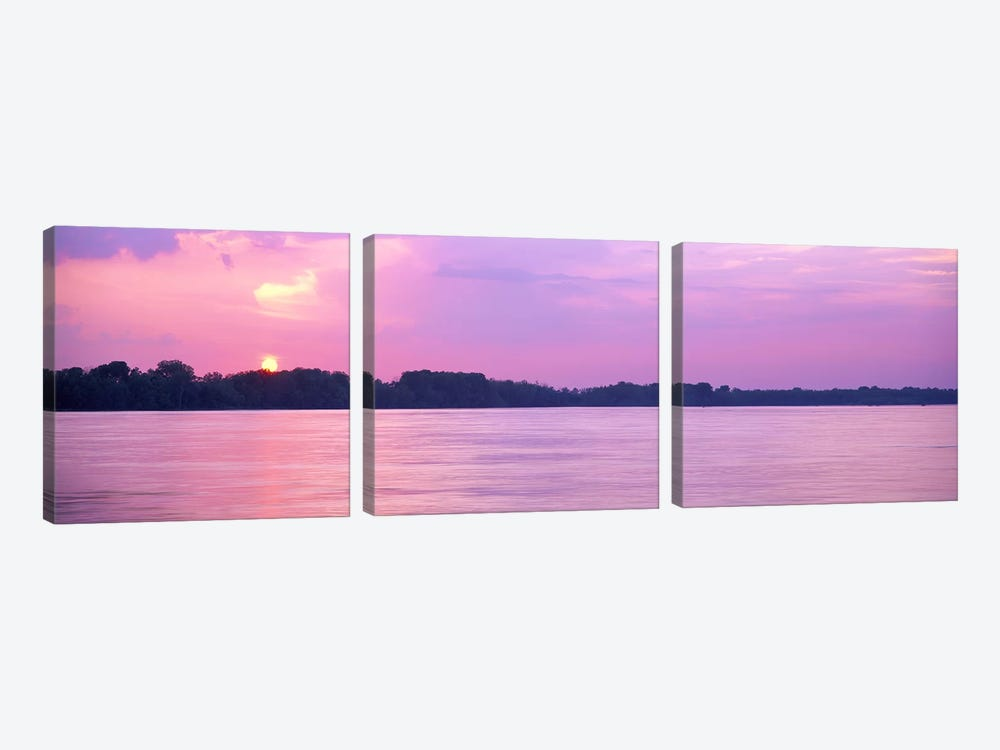 Sunset Mississippi River Memphis TN USA by Panoramic Images 3-piece Canvas Print