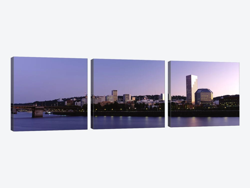Buildings on the waterfront, Portland, Oregon, USA #2 3-piece Canvas Artwork