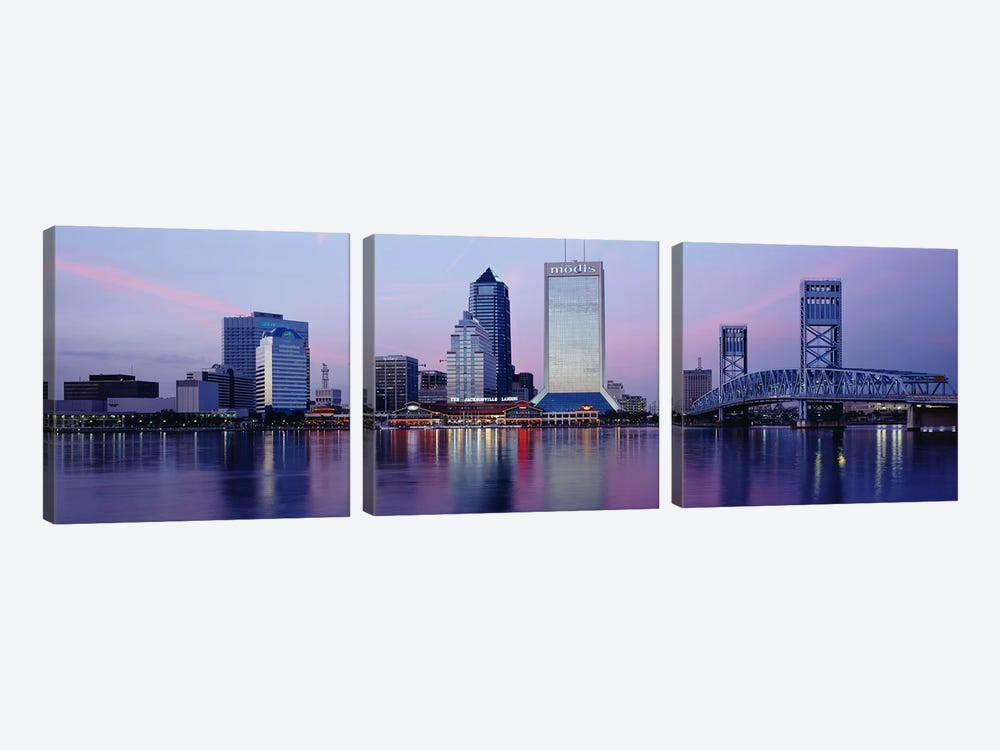 Skyscrapers On The Waterfront, St. John's River, Jacksonville, Florida, USA by Panoramic Images 3-piece Canvas Art Print