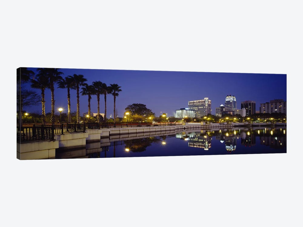 Reflection of buildings in water, Orlando, Florida, USA by Panoramic Images 1-piece Canvas Wall Art