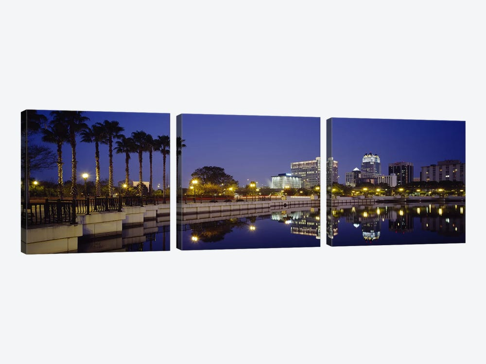 Reflection of buildings in water, Orlando, Florida, USA by Panoramic Images 3-piece Canvas Art