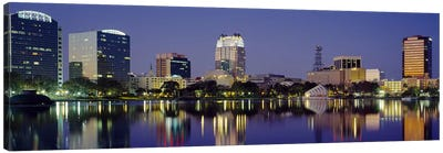 Reflection of buildings in water, Orlando, Florida, USA #2 Canvas Print #PIM3063