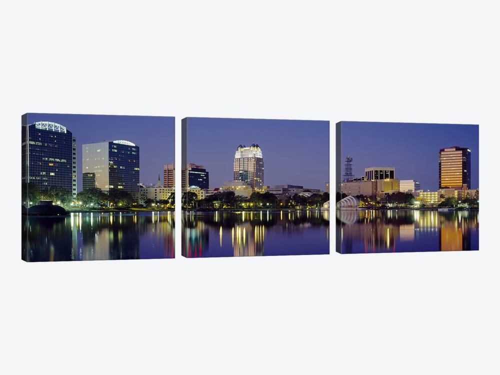 Reflection of buildings in water, Orlando, Florida, USA #2 by Panoramic Images 3-piece Canvas Art Print
