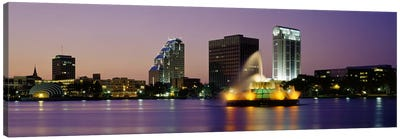 Fountain in a lake lit up at night, Lake Eola, Summerlin Park, Orlando, Orange County, Florida, USA Canvas Art Print