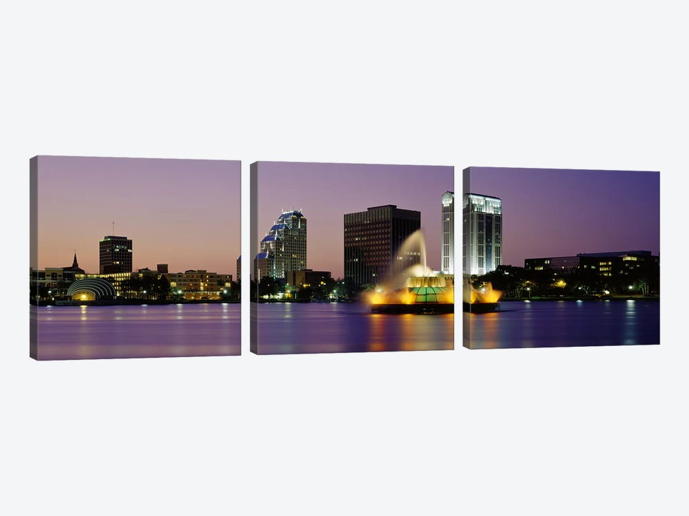 Fountain in a lake lit up at night, Lake Eola, Summerlin Park, Orlando, Orange County, Florida, USA by Panoramic Images 3-piece Canvas Wall Art
